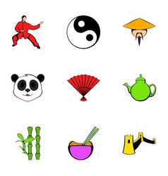 Asian country cons set cartoon style vector