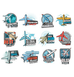 aviation air flight icons airplane pilot school vector image