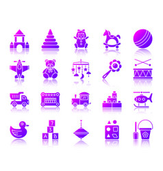 baby toy simple gradient icons set vector image