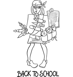 back to school cartoon coloring page vector image