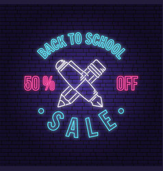 Back to school sale neon design or emblem vector