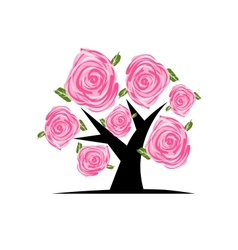 Blooming tree with pink roses for your design vector
