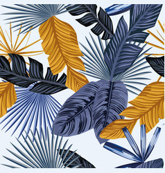 blue gold palm leaves seamless white background vector image