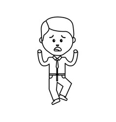 Businessman line cartoon face sad expression vector