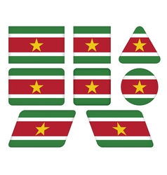 buttons with flag of Suriname vector image