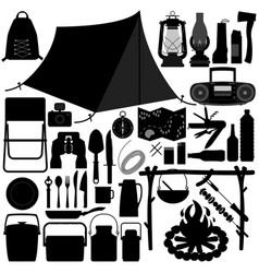 Camp camping picnic recreational tool a set of vector