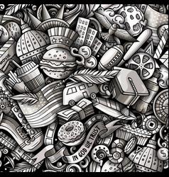 cartoon doodles usa seamless pattern vector image