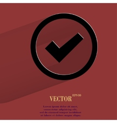 Check mark Flat modern web button with long shadow vector