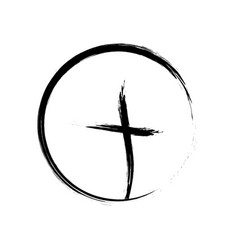 christian cross icon in circle black vector image
