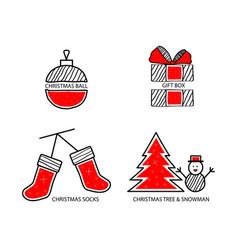 christmas ball gift socks vector image