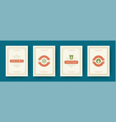 Christmas cards set vintage typographic design vector