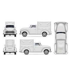 Classic white van mock-up vector