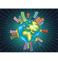 Colorful World Night vector