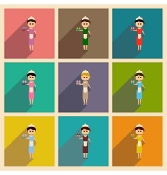 Concept of flat icons with long shadow girl vector