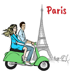 Couple driving scooter in paris vector