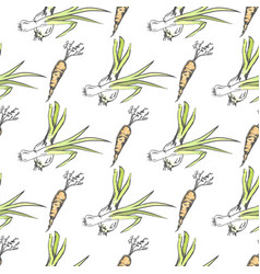 crispy carrot and green leek seamless pattern vector image