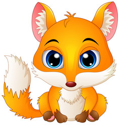Cute baby fox cartoon vector