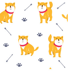 cute funny cartoon dogs shiba inu vector image