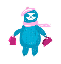 cute sloth in a pink vector image
