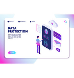 Data protection isometric concept personal vector