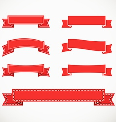 Different retro style red ribbons vector image