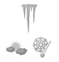 Different weather monochrome icons in set vector