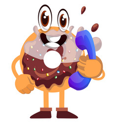 donut with telephone on white background vector image