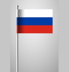 Flag of russia national flag on flagpole vector