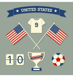 flat design us soccer icons symbols decoration vector image