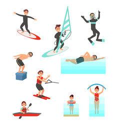 flat set with young people involved in vector image