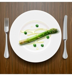 Fresh green asparagus on the plate vector image vector image