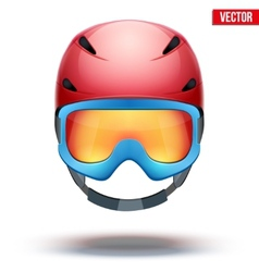 Front view of Classic red Ski helmet and blue vector image