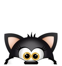 Funny cat peeking out from the bottom edge of the vector image