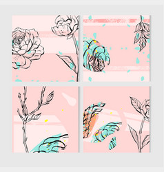 Geometric cactus and succulents on pink background vector