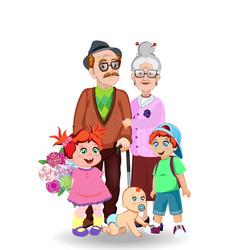 grandfather grandmother granddaughter grandson vector image