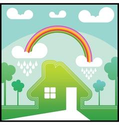 Green house with rainbow vector