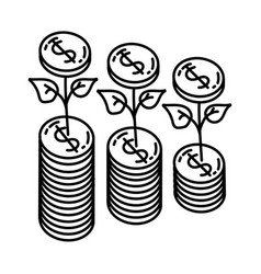 growth icon doodle hand drawn or outline icon vector image
