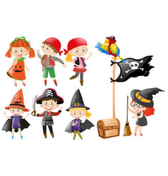 halloween set with kids in costumes vector image