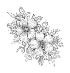 Hand drawn floral bunch with hibiscus flowers vector