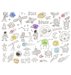 Hand drawn space doodles vector