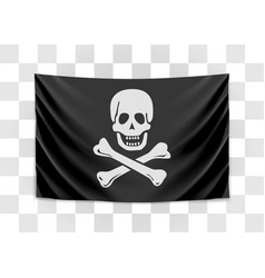 hanging pirate flag happy roger vector image