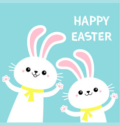 Happy easter two bunny rabbit set waving paw vector