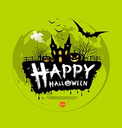 Happy Halloween message design on green background vector