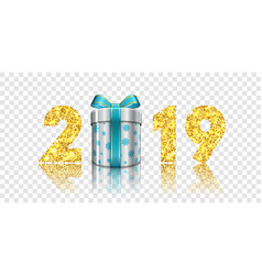 happy new year card 3d gift box ribbon bow gold vector image