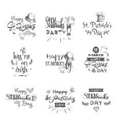 happy patricks day icons set hand drawn lettering vector image