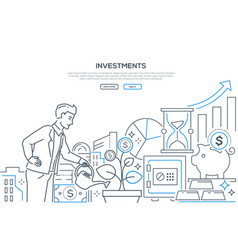 investments - modern line design style web banner vector image