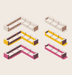 Isometric full color outline corner soft vector