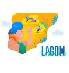 lagom swedish life balance comfort hygge vector image