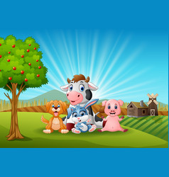 Little animals farm in the morning vector