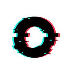 Logo letter o glitch distortion vector